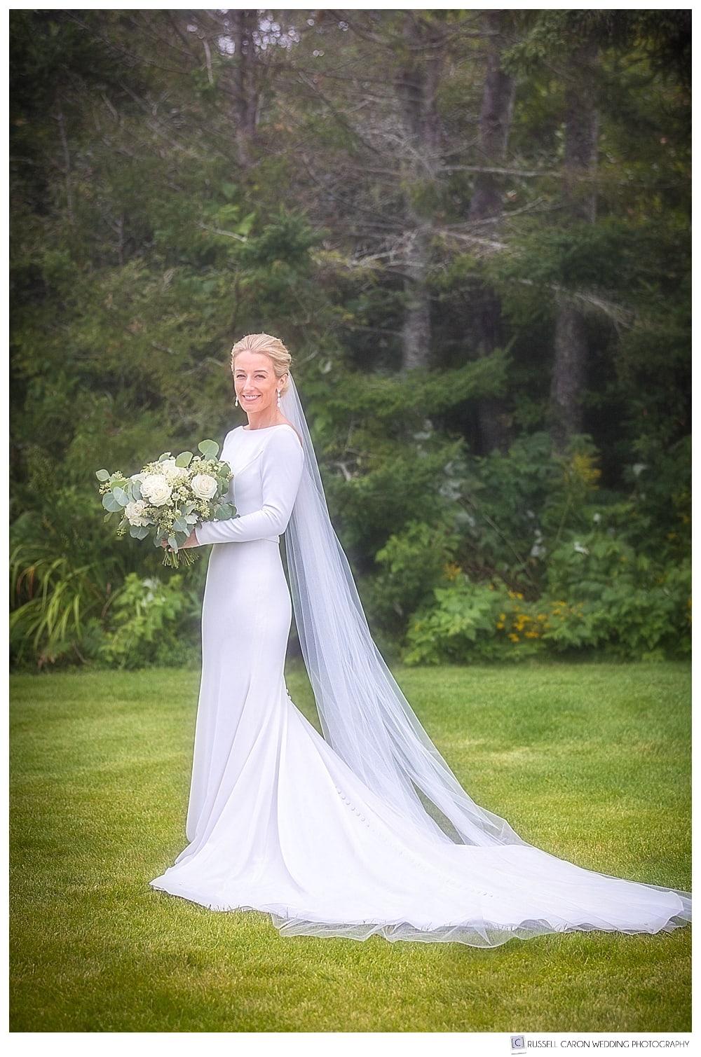 full length bridal portrait on the lawn at the Newagen Seaside Inn