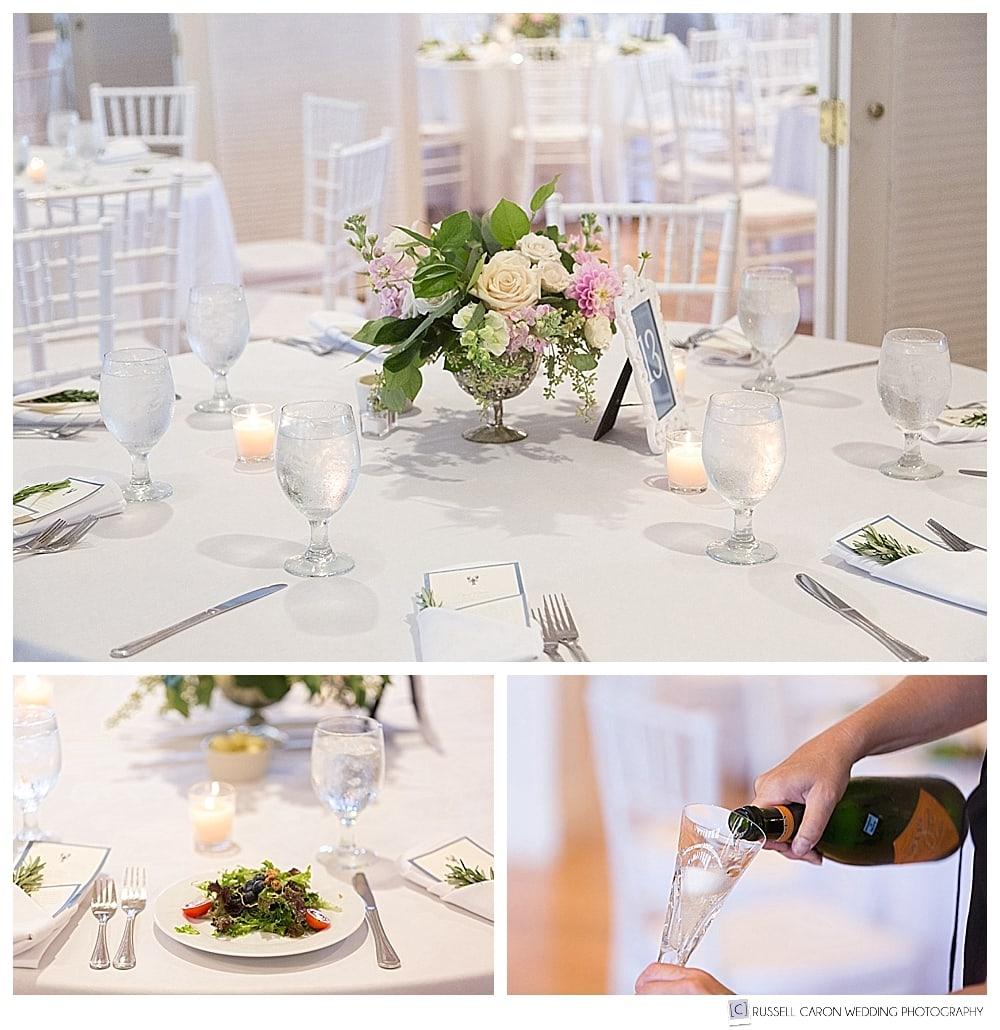 Wedding reception details flowers, salad, champagne