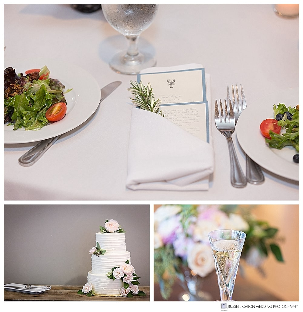 wedding day details, table setting champagne glasses, wedding cake by Nothing Bakes Like a Parrott
