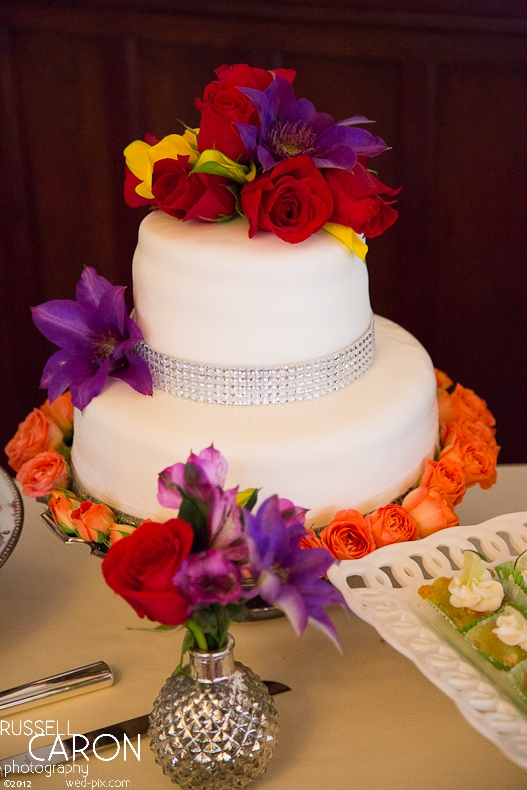 A colorful wedding cake for a French's Point wedding