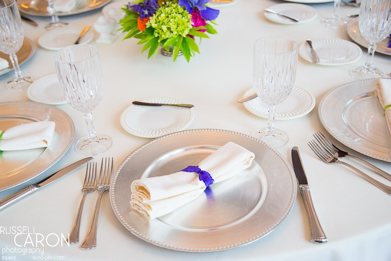 Reception place settings at French's Point wedding