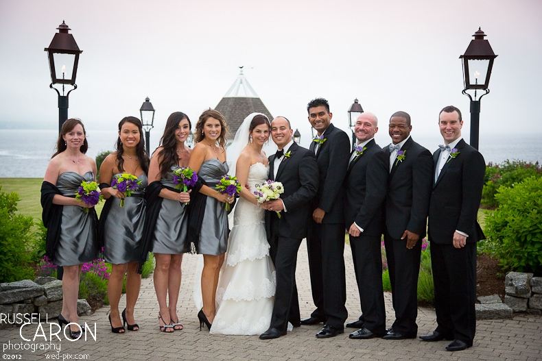 Bride and groom with bridal party at a French's Point wedding