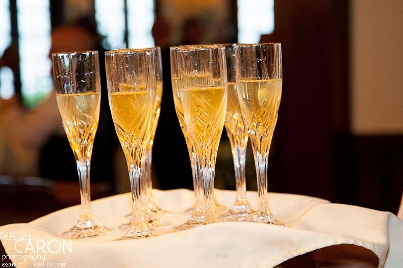 champagne at wedding reception
