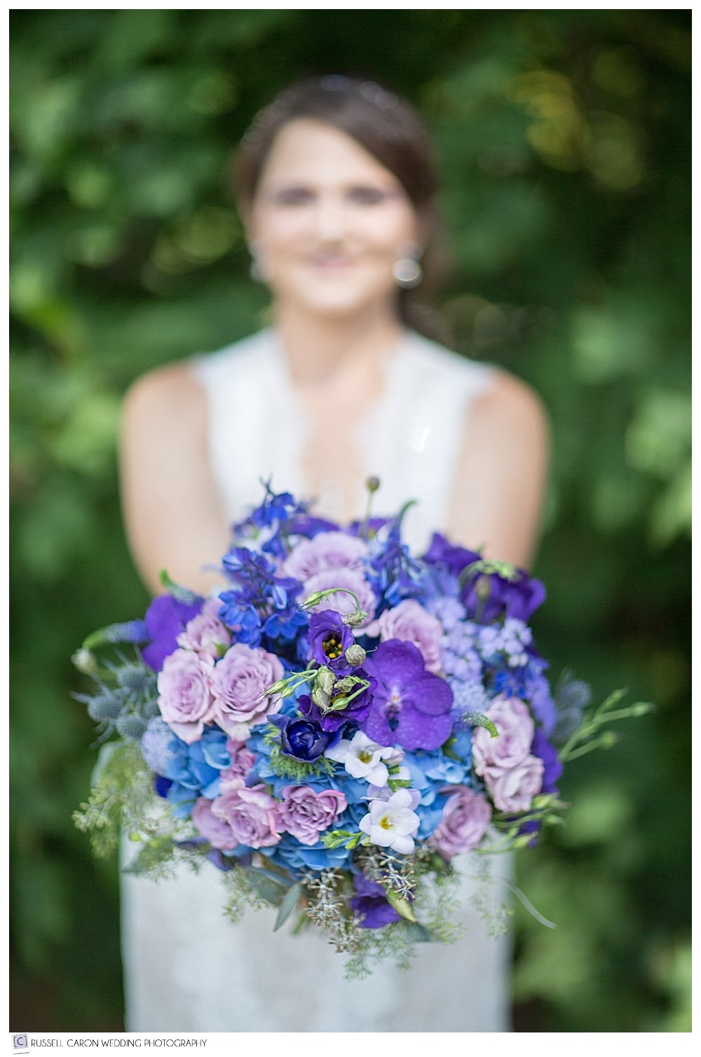 shades of blue bridal bouquet