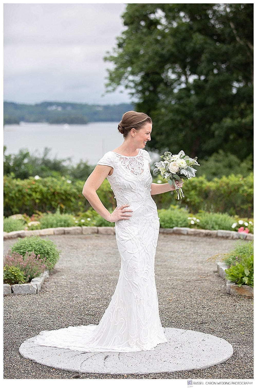 bridal portrait in an elegant Castine Maine garden