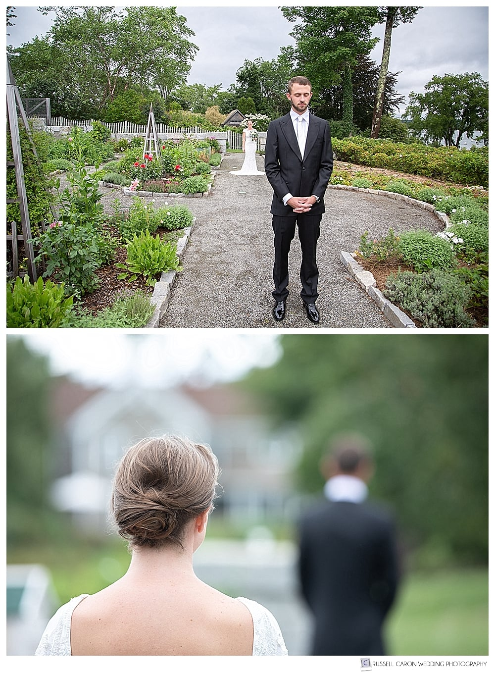bride and groom in an elegant Castine Maine garden, just before their wedding day first look