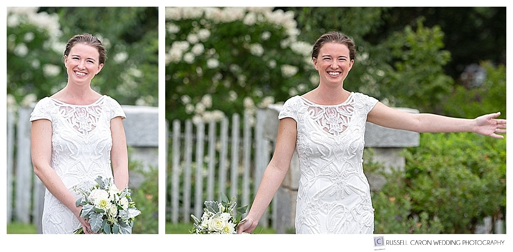 bride during wedding day first look during elegant Castine Maine wedding