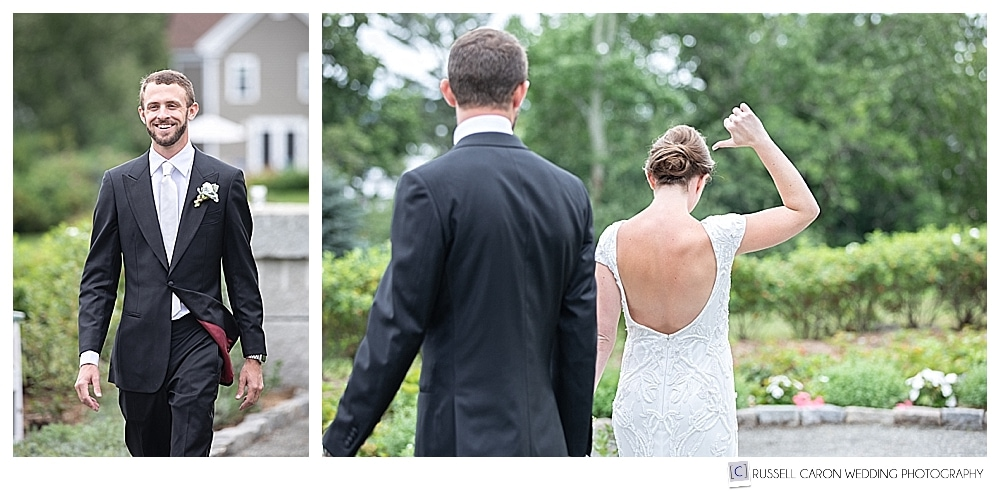 groom during first look at Castine Maine private residence
