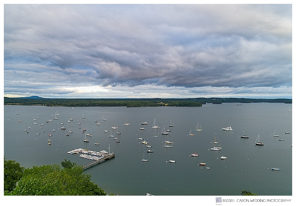 Maine drone wedding photograph of Castine Harbor, maine