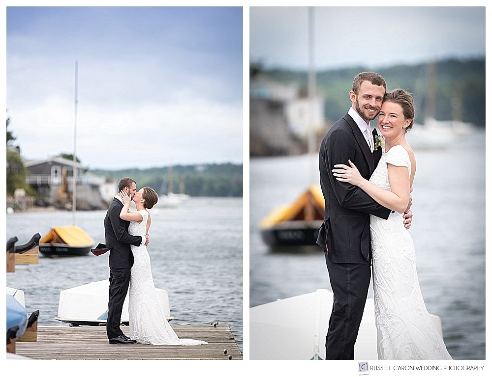 Bride and groom standing together and kissing on a dock, during their elegant Castine Maine wedding day