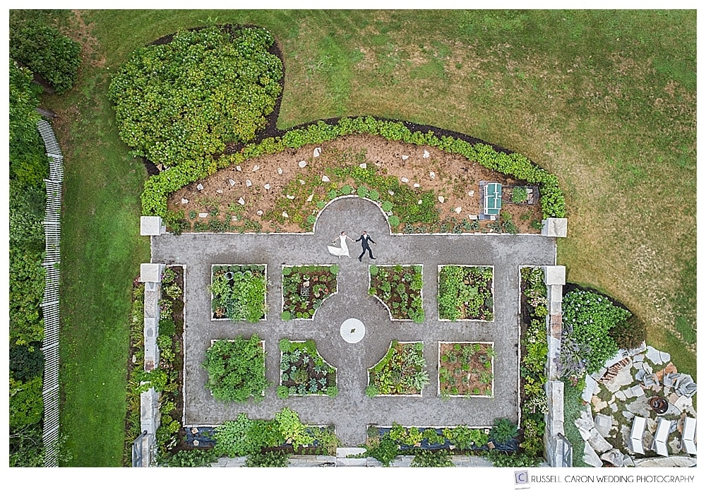 Maine drone wedding photograph of bride and groom in beautiful garden at private residence in Castine, Maine