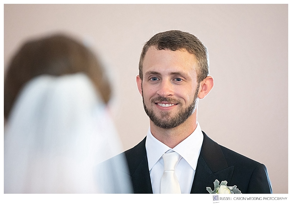 Groom during church wedding ceremony