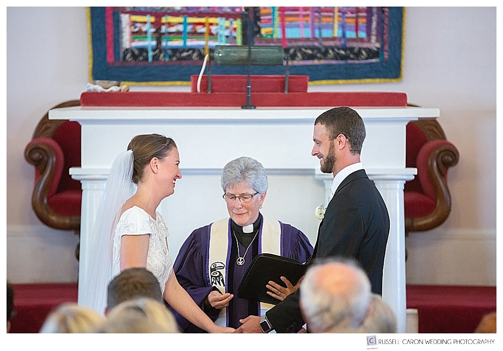 Wedding ceremony at the UU Church in Castine, Maine