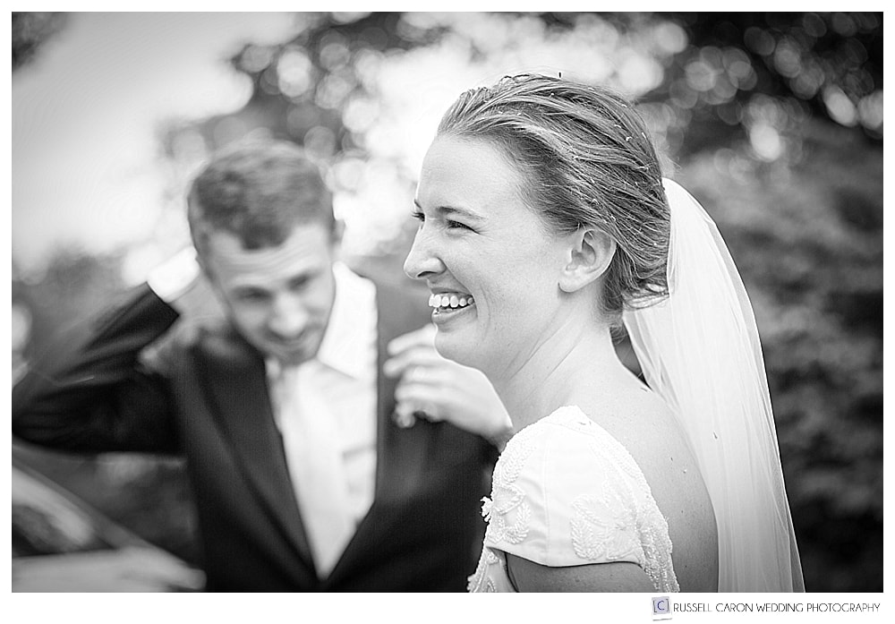 Bride and groom laughing after their recessional
