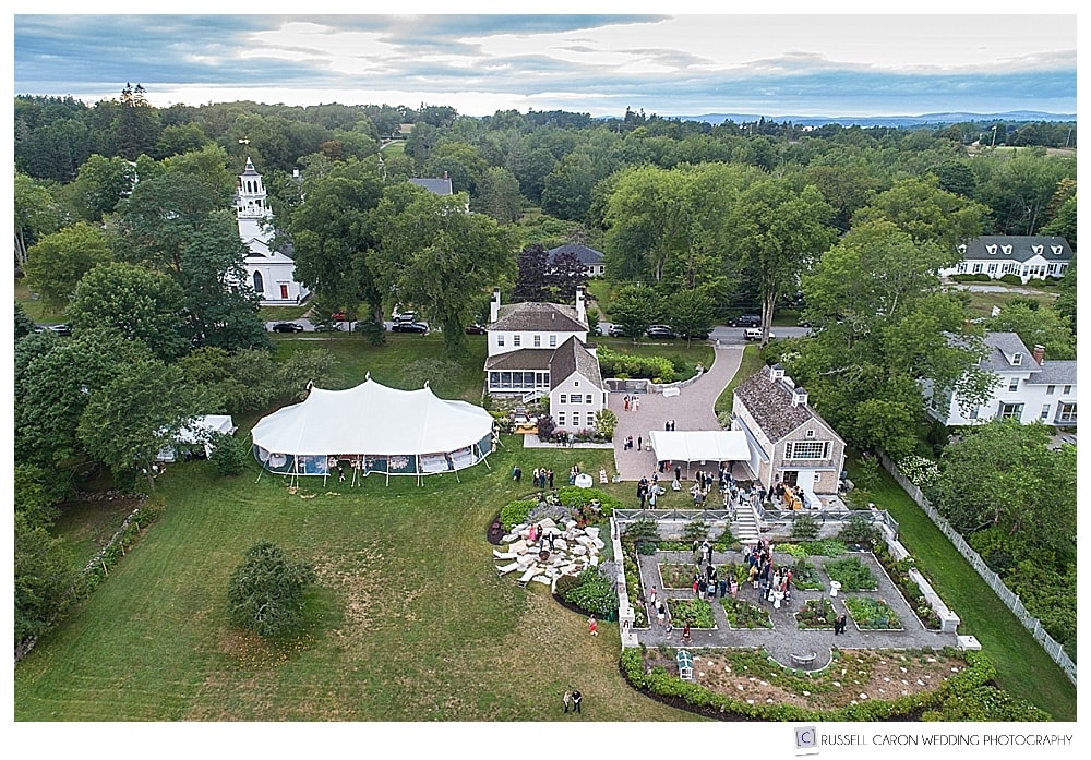 Maine drone wedding photographer, photograph of private residence wedding in Castine, Maine