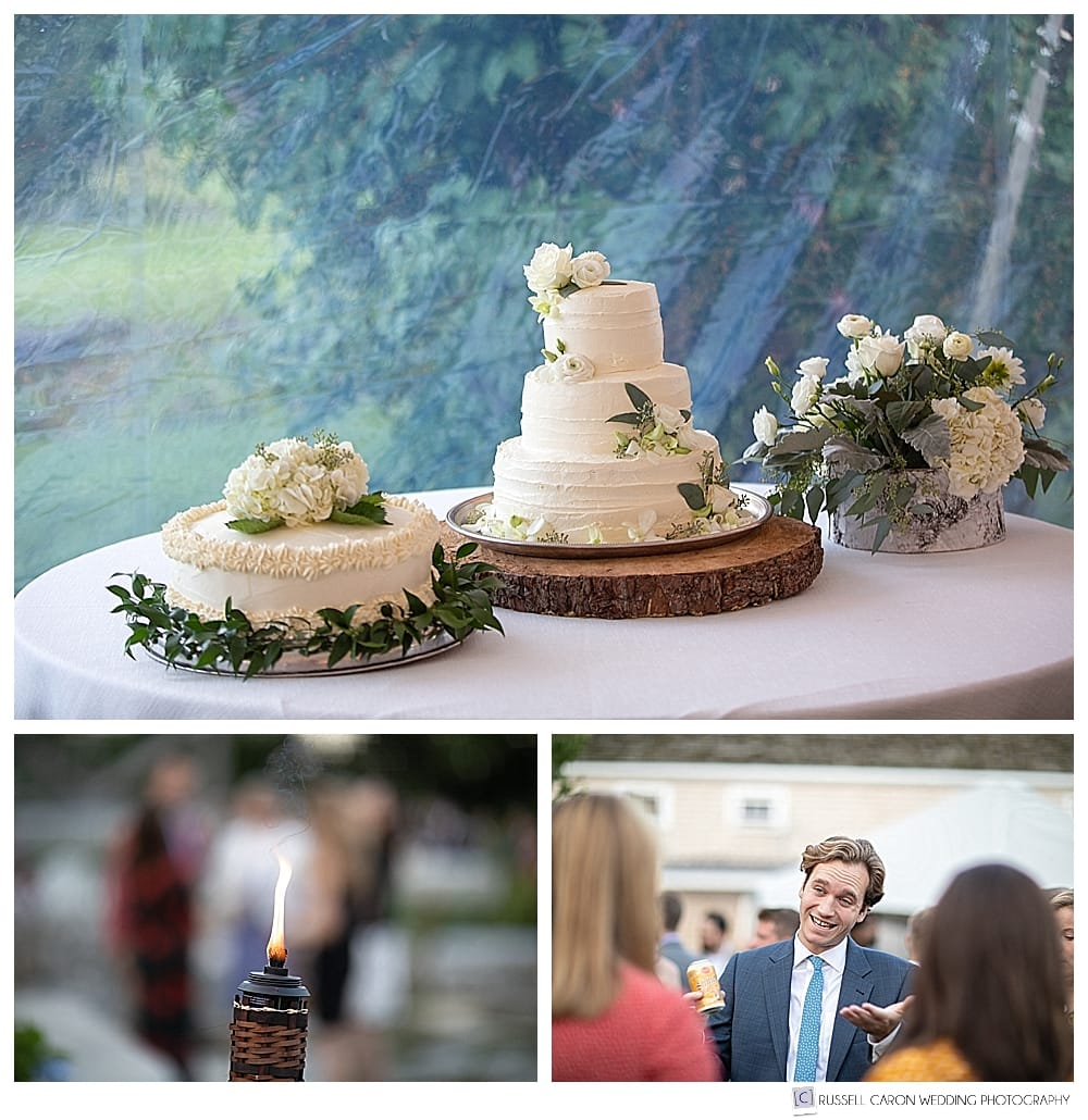 Wedding reception details, wedding cake, wedding guests, tiki torch