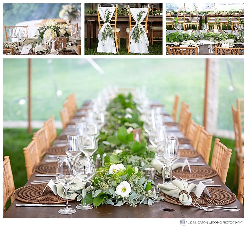 elegant castine maine wedding reception details, florals by E Grace Designs