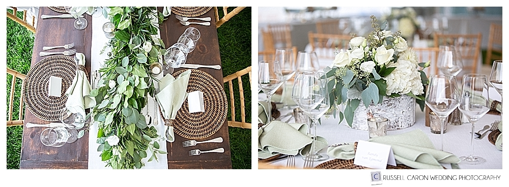 Castine, Maine, private residence wedding reception details, florals by E Grace Designs