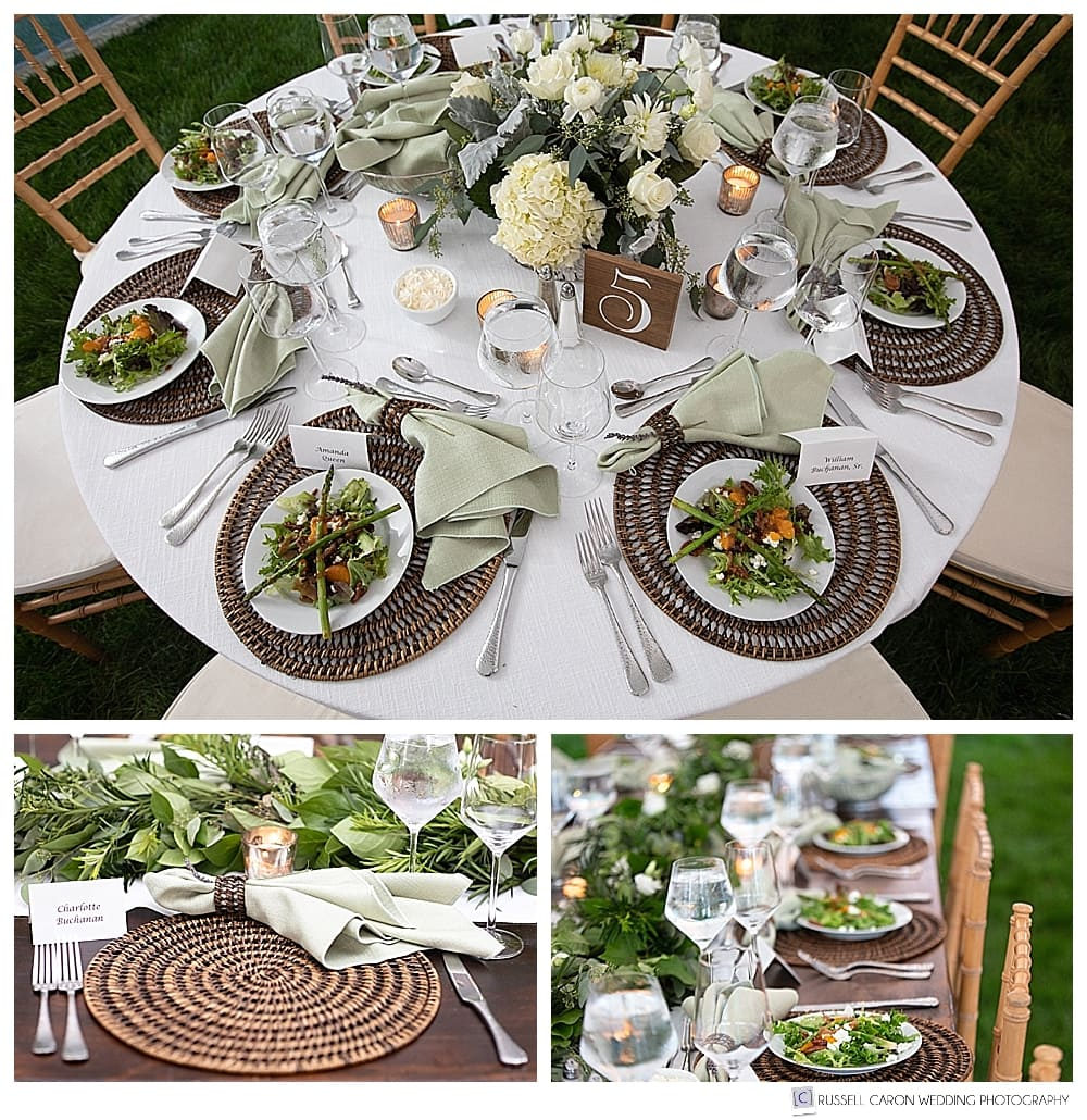 Elegant wedding reception details at Castine, Maine wedding. Florals by E Grace Designs, food by Ann Rioux