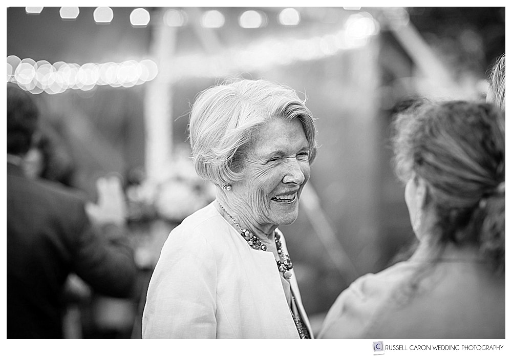 Black and white photo of a wedding guest