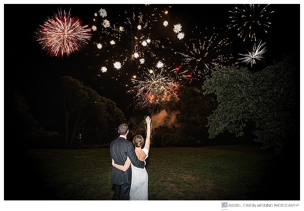 Fireworks at private residence wedding in Castine, Maine
