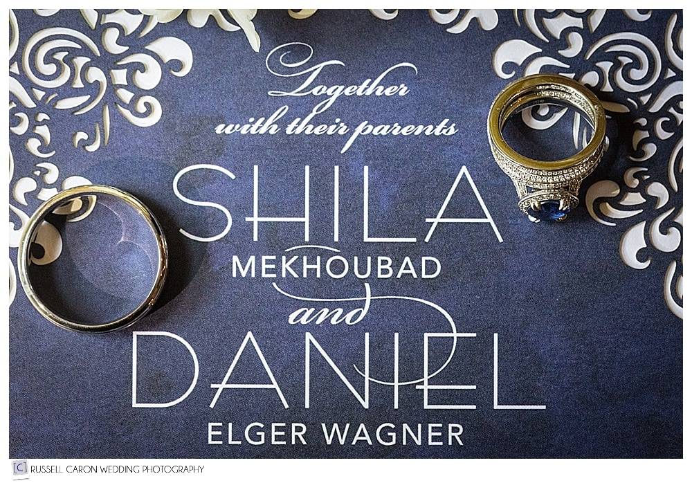wedding invitation with ring shot