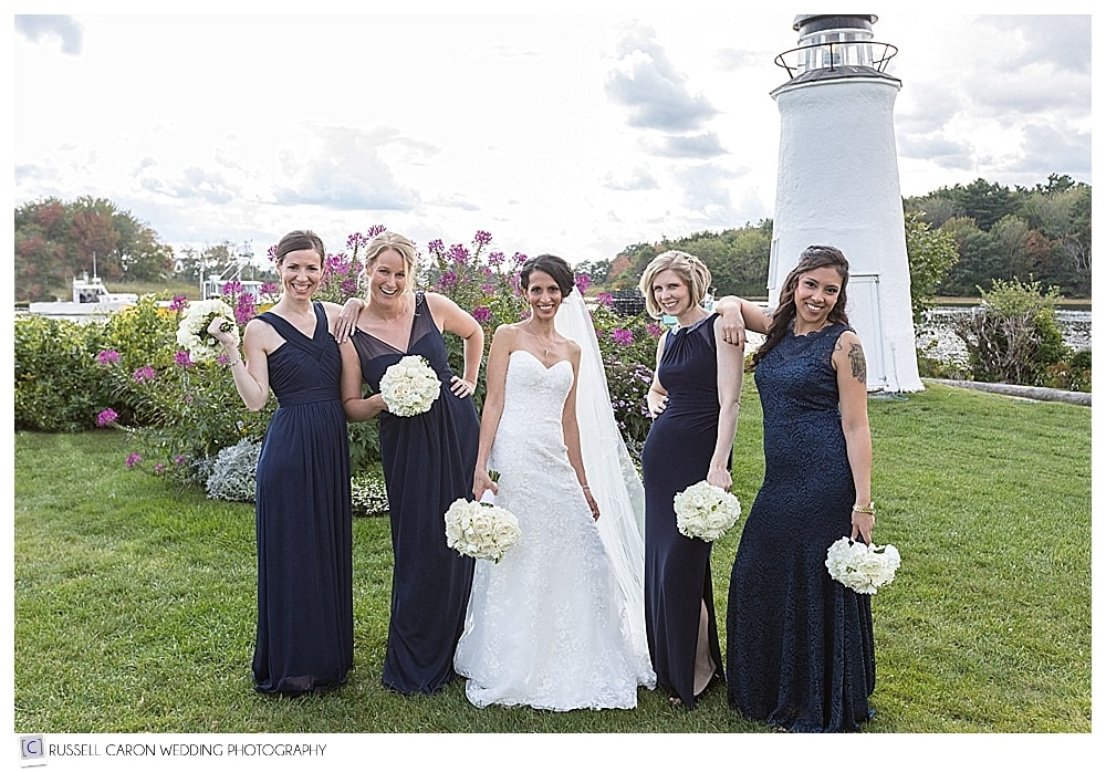 bride and bridesmaids at the Nonantum Resort Kennebunkport Maine