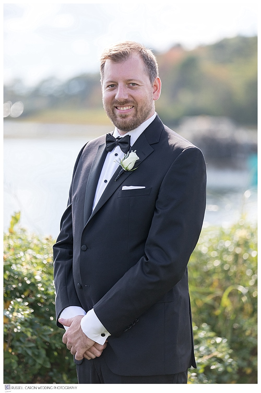 Portrait of groom at the Nonantum Resort, Kennebunkport, Maine