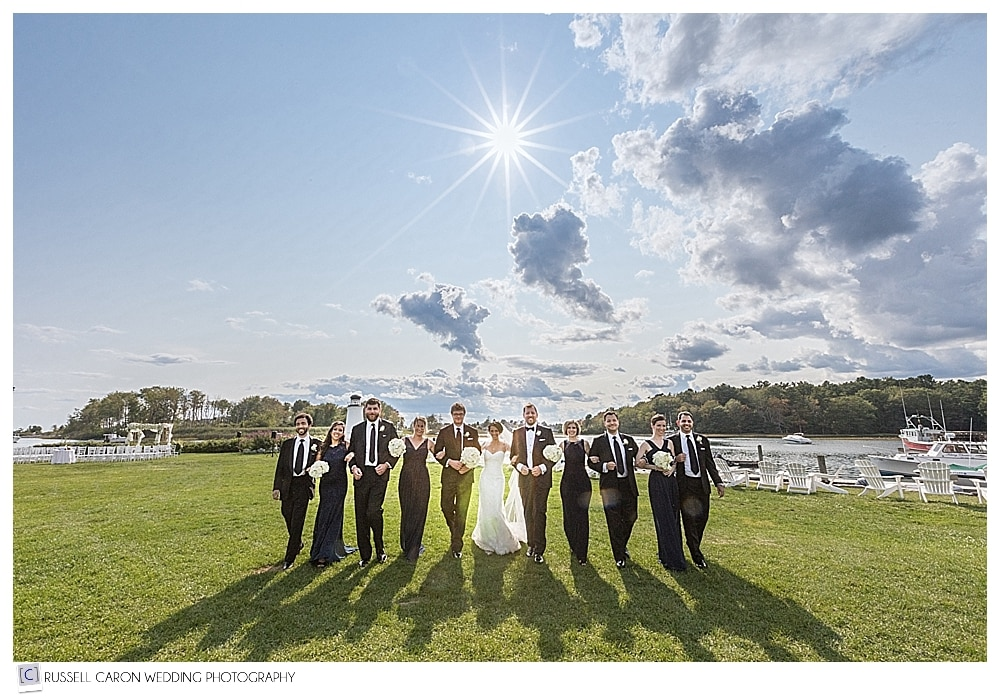 bridal party walking on the Nonantum Resort lawn, Kennebunkport, Maine wedding