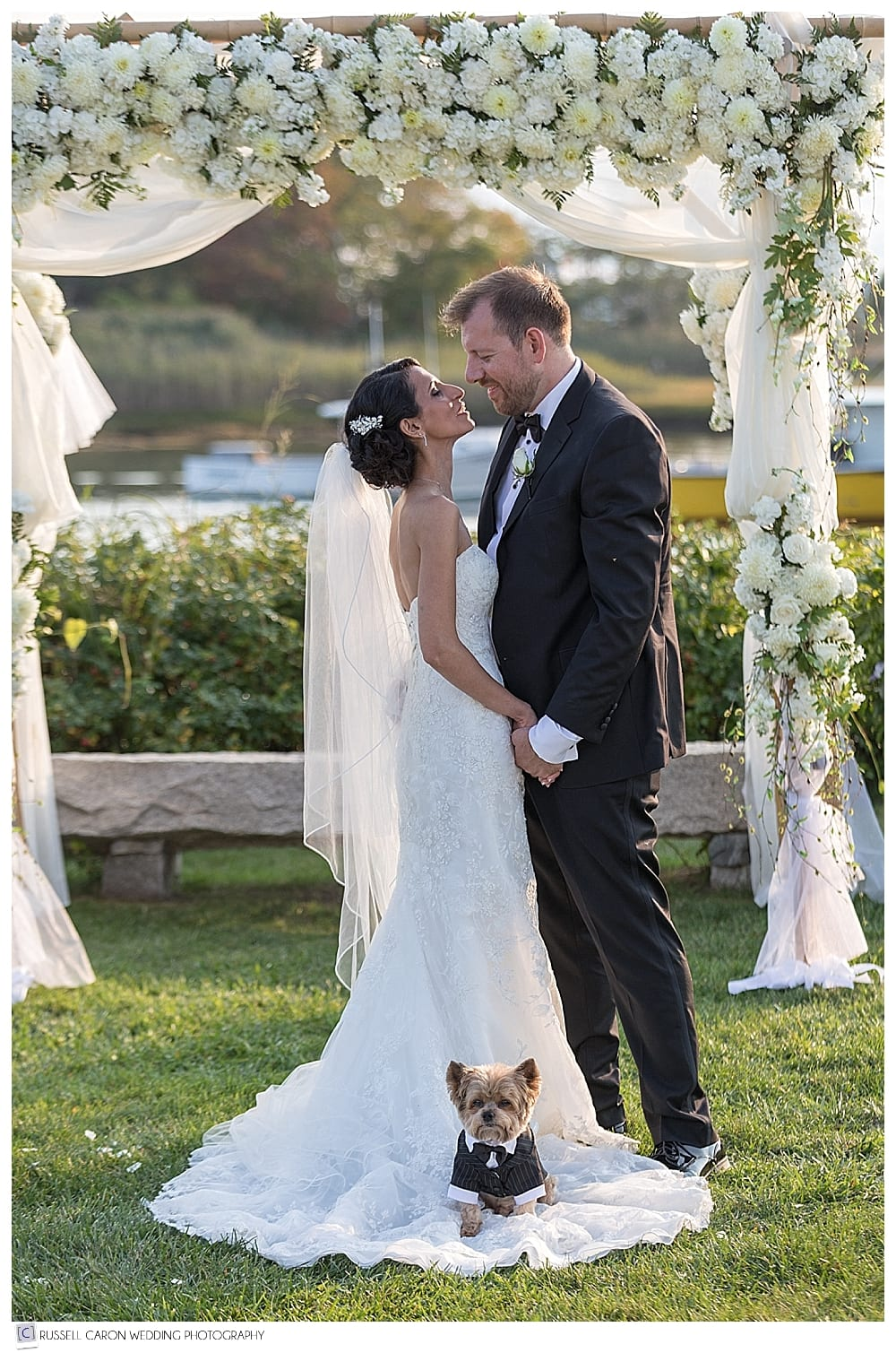 bride and groom with their dog, under the chuppa