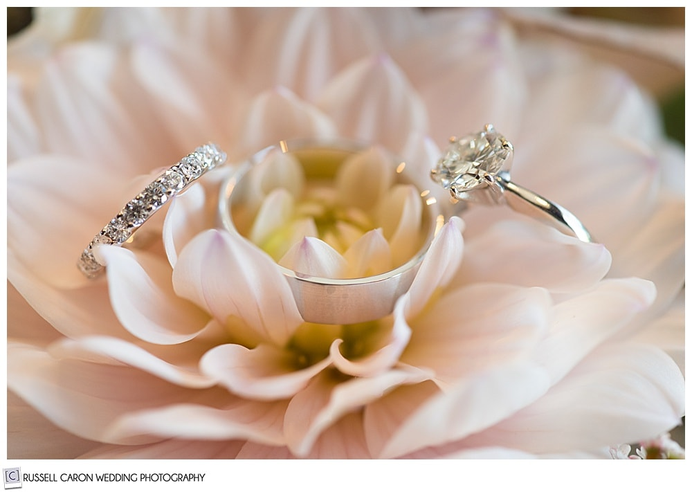 wedding ring detail photos with bride's bouquet