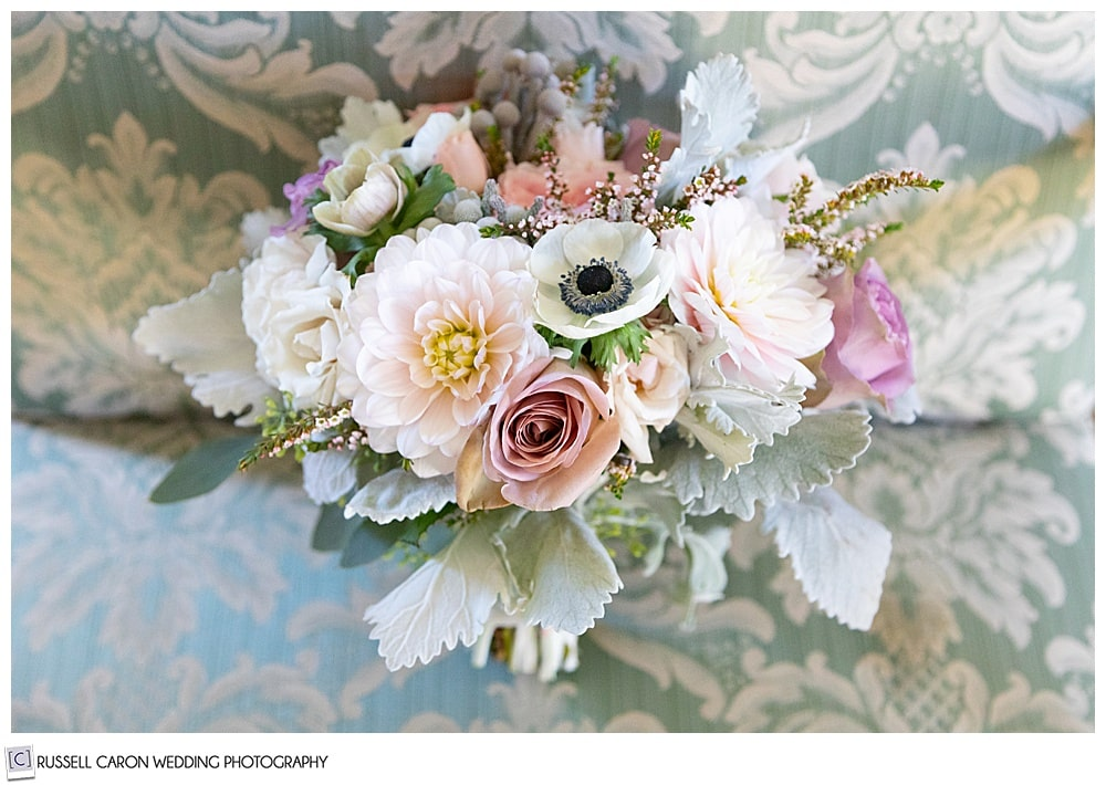 beautiful bridal bouquet of pink, white, blush, lavender, and green flowers by Seasons Downeast Designs