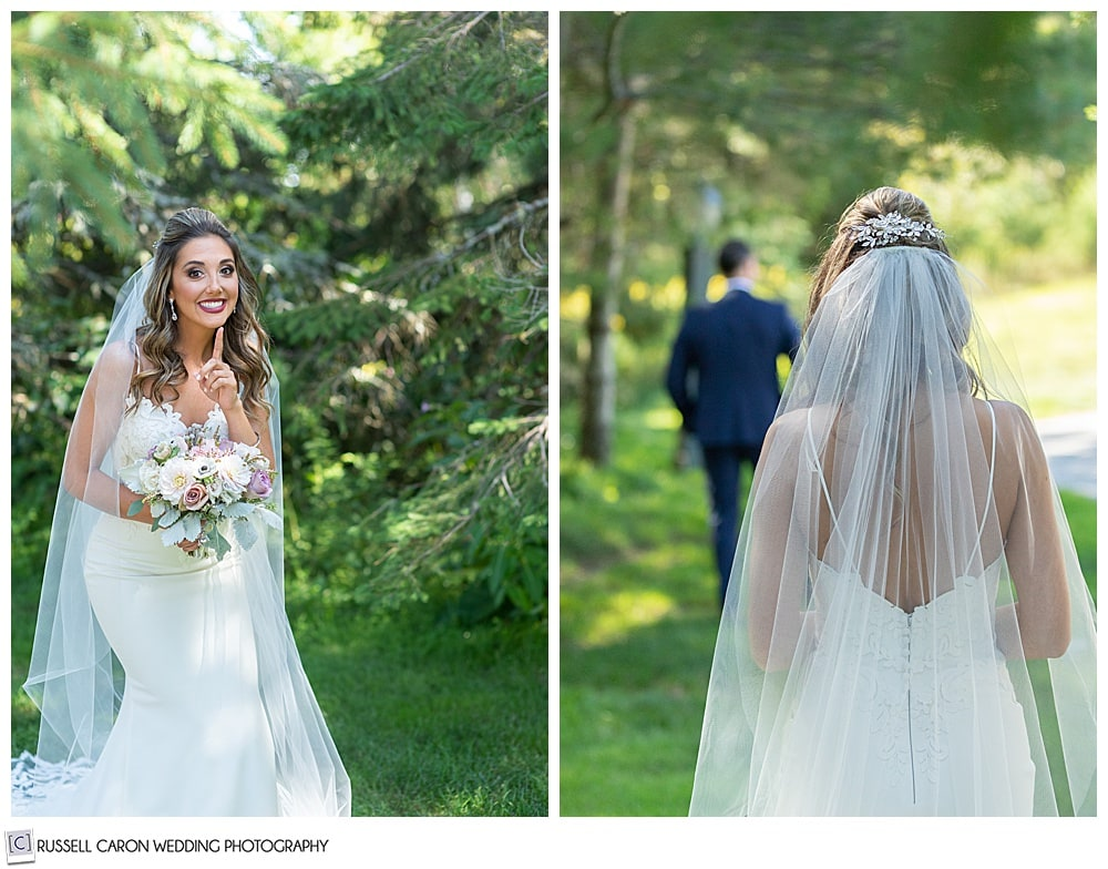 two side by side photos, one with a bride standing behind the groom, his back is to her; the other where she has her finger to her lips
