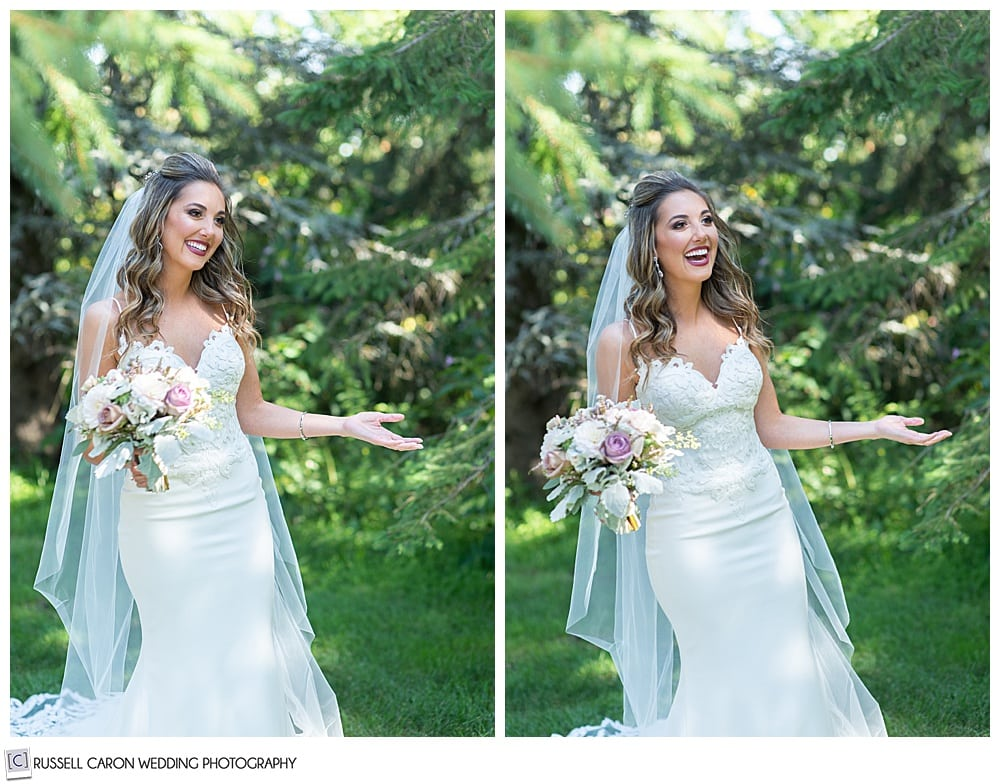 side by side photos of a bride holding her hands out as her groom sees her for the first time during a wedding day first look photo session