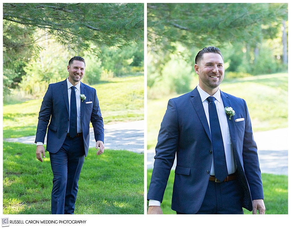 side by side photos of a broom in a blue suit, seeing his bride for the first time in a wedding day first look photo session