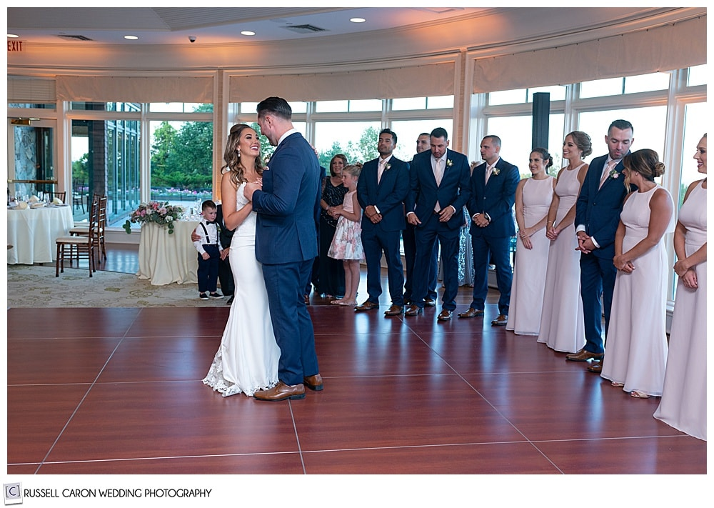 bride and groom during the first dance at their elegant point lookout wedding reception