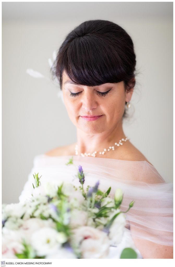 classic bridal portrait with bride's eyes closed