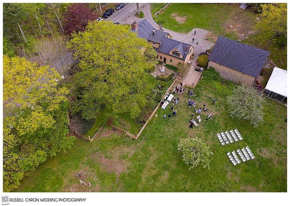 drone wedding photo of a backyard wedding in Cape Neddick Maine