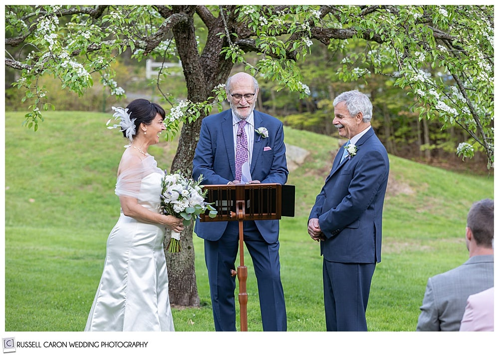 bride and groom looking at each other during their intimate Cape Neddick wedding ceremony