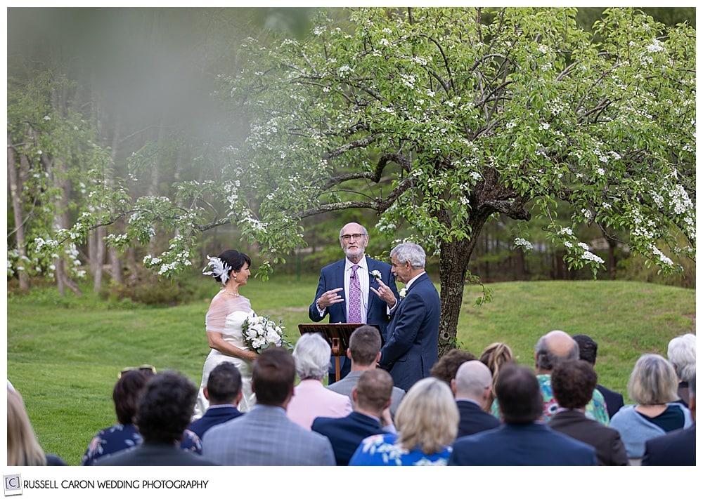 beautiful intimate Cape Neddick wedding ceremony under an apple tree