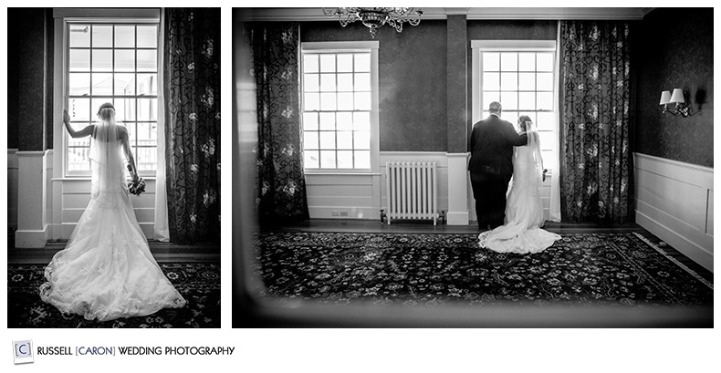 bride looking out window, with her father