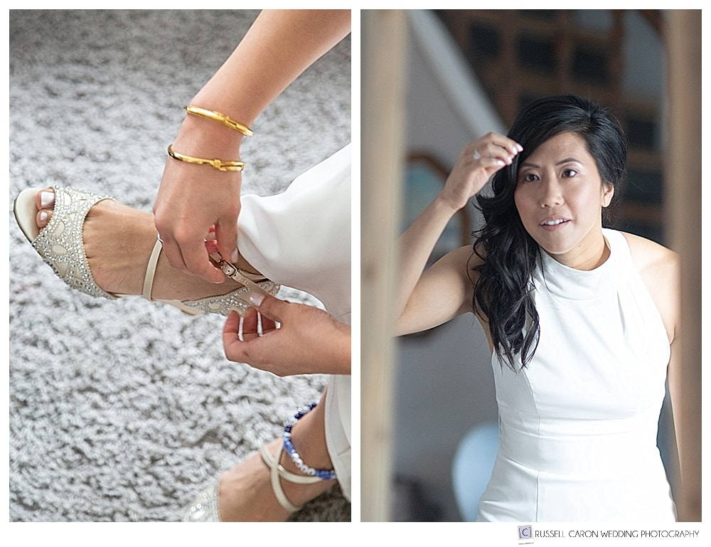 bride getting ready photos, bride in mirror, and bride fastening shoe