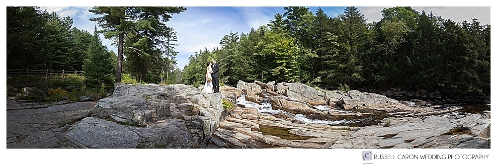 panoramic photo of bride and groom at Jackson Falls, Jackson, New Hampshire