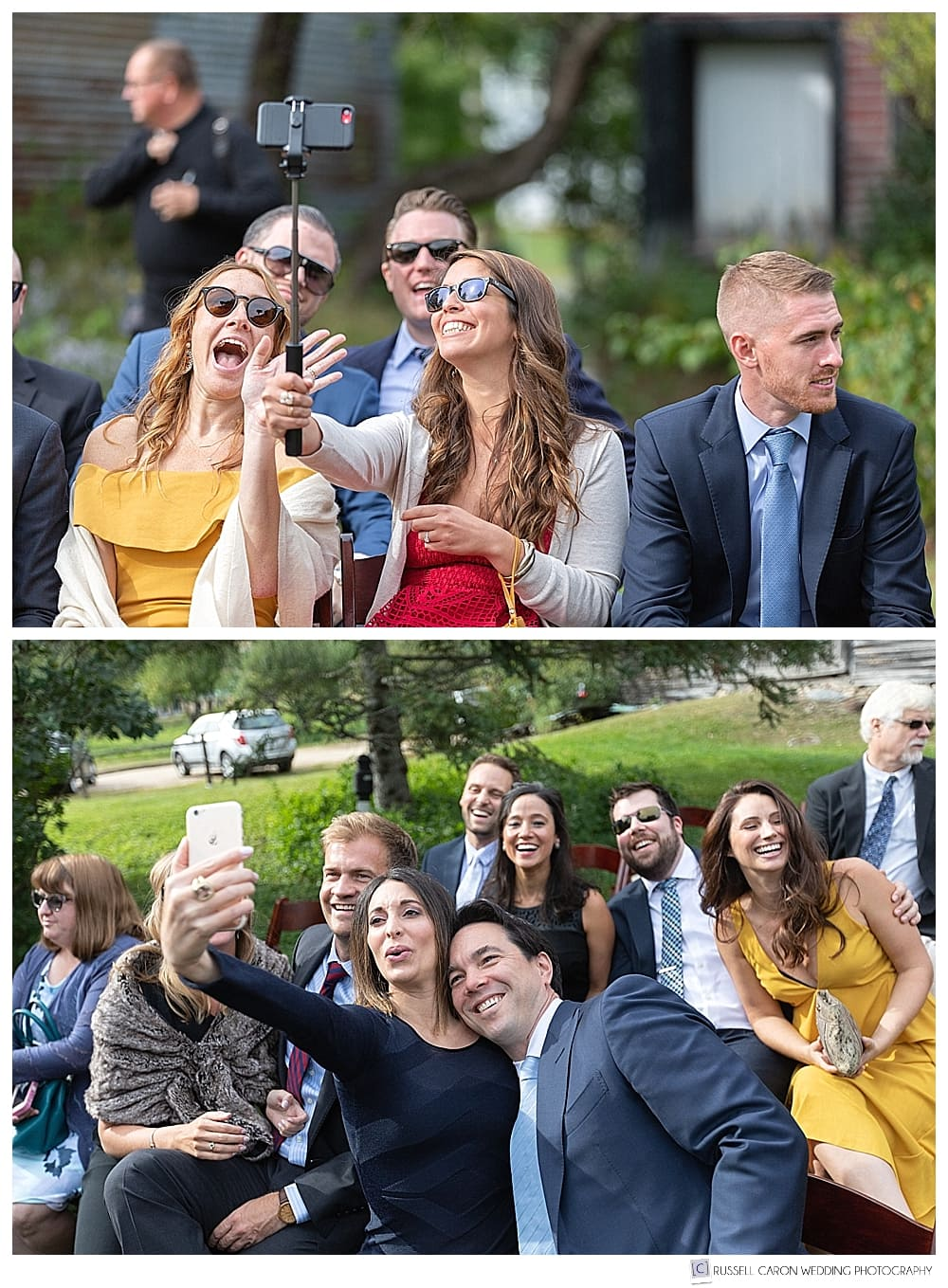 weddings guests taking group selfies photos