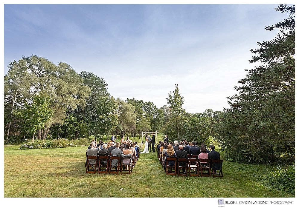 Jackson New Hampshire wedding ceremony on the lawn at the Thompson House Eatery