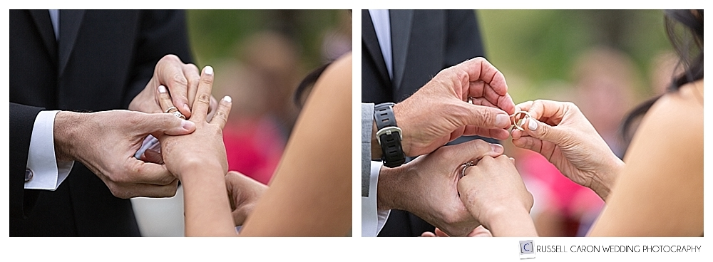 photos of groom putting on brides's ring, and bride holding groom's ring