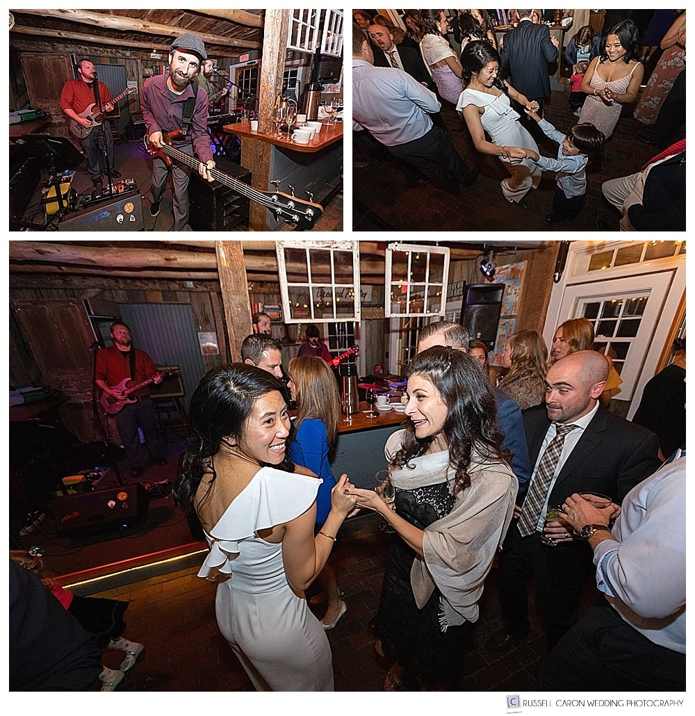Dancing fun at Thompson House Eatery, Jackson New Hampshire wedding
