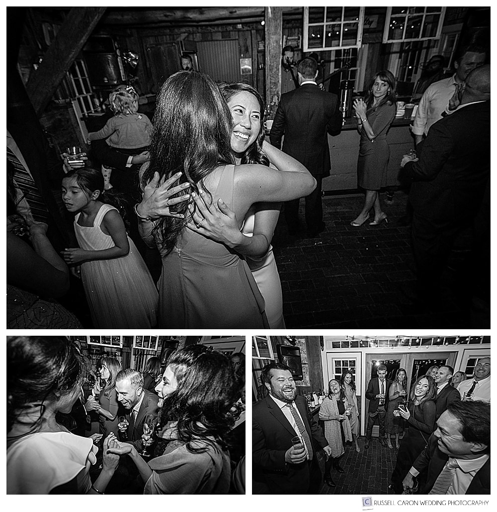 black and white photos of people dancing at a wedding reception