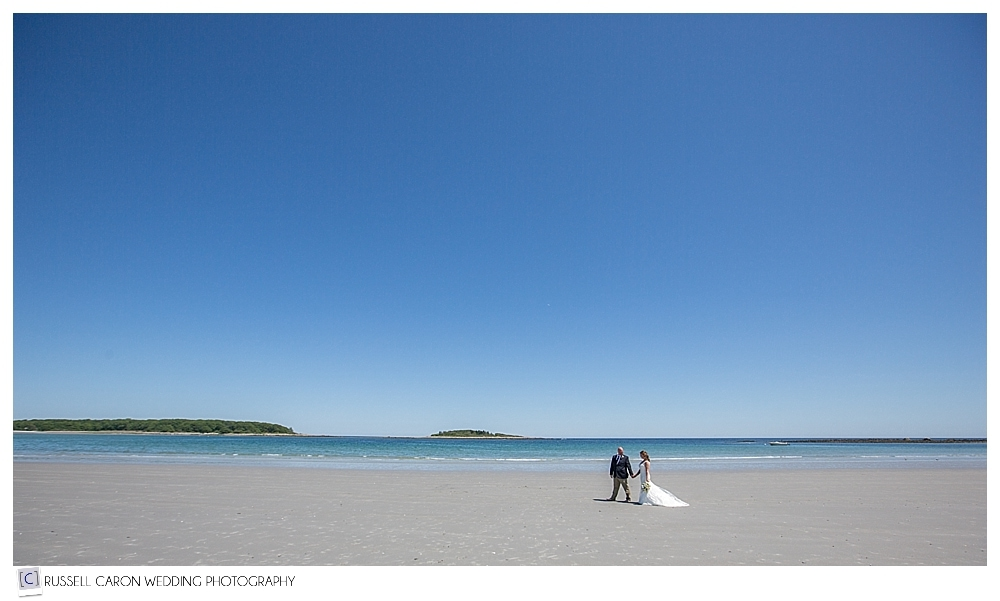 Bride-and-groom-at-goose-rocks-beach-kennebunkport-maine