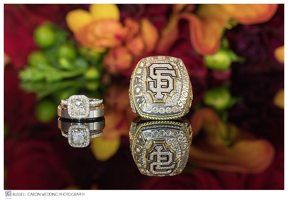 wedding rings, San Fransisco Giants World Series ring, wedding bouquet photo